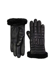 UGG Leather Quilted Logo Gloves with Conductive Tech Palm