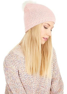UGG Reverse Stitch Beanie with Faux Fur Pom