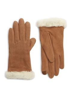 UGG® Genuine Shearling Trim Suede Tech Gloves