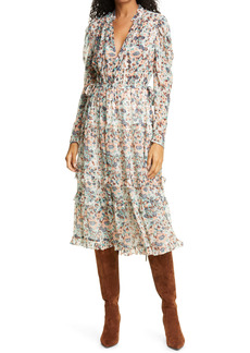Ulla Johnson Beatrice Ruffle Tiered Long Sleeve Silk Midi Dress