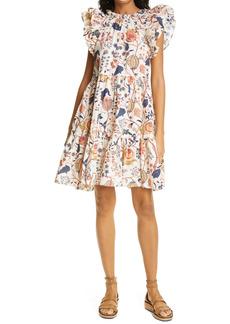 Ulla Johnson Eden Floral Print Flutter Sleeve Cotton Dress