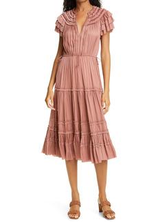 Ulla Johnson Josephine Smocked Satin A-Line Dress