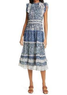 Ulla Johnson Kiri Mixed Print Midi Dress