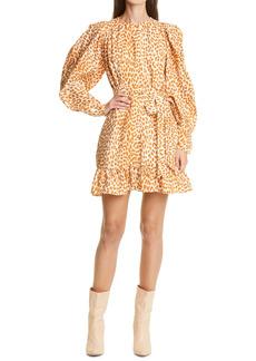Ulla Johnson Rosaria Cheetah Print Ruffle Long Sleeve Silk Minidress