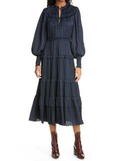 Ulla Johnson Serena Ruffle Satin Long Sleeve Midi Dress