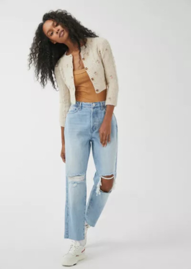 Urban Outfitters Exclusives BDG High-Waisted Slim Straight Jean - Ripped Light Wash