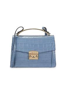 Valentino by Mario Valentino Belle Crocodile-Embossed Leather Crossbody Bag