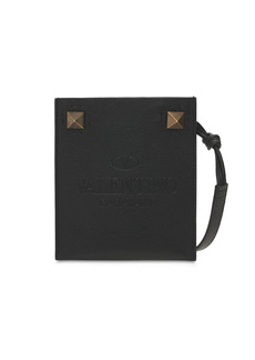 Valentino Flat Leather Phone Case W/ Metal Studs