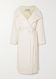 Valentino Leather-trimmed Wool And Cashmere-blend Wrap Coat