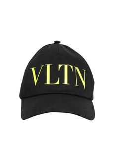 Valentino Logo Print Cotton Baseball Cap