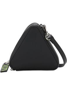 Valentino Logo Print Triangle Leather Keychain