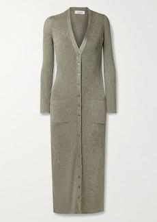 Valentino Metallic Ribbed-knit Cardigan
