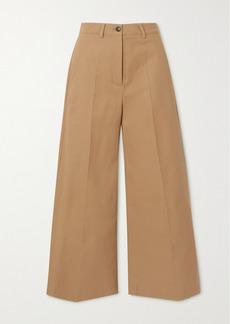 Valentino Pleated Cotton-gabardine Wide-leg Pants