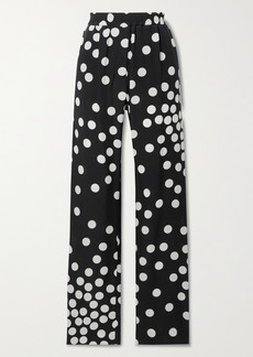 Valentino Polka-dot Silk-georgette Straight-leg Pants