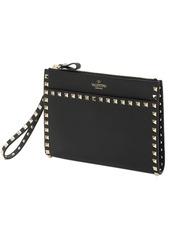 Valentino Rockstud Leather Medium Flat Pouch