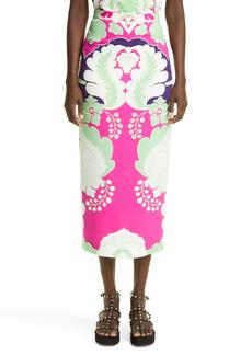 Valentino Arazzo Print Silk Cady Midi Skirt