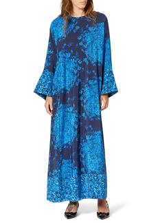 Valentino Delft Floral Print Long Sleeve Silk Caftan Maxi Dress