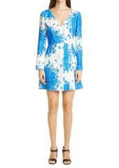 Valentino Delft Print Long Sleeve Wrap Dress