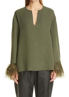 Valentino Feather Cuff Silk Tunic