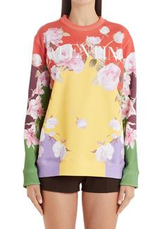 Valentino Floral Logo Colorblock Sweatshirt