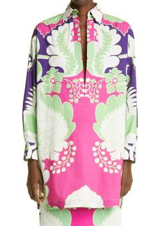 Valentino Floral Oversize Split Neck Cotton Top