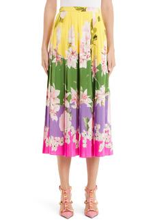Valentino Floral Pleated Silk Skirt