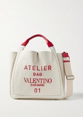 Valentino Garavani Atelier 01 Medium Leather-trimmed Printed Canvas Tote