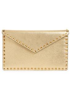 Valentino Garavani Large Rockstud Metallic Leather Envelope Pouch