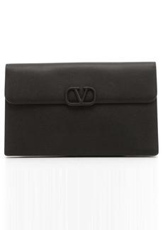 Valentino Garavani Large VLOGO Leather Clutch