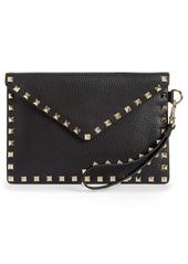Valentino Garavani Medium Rockstud Leather Envelope Pouch