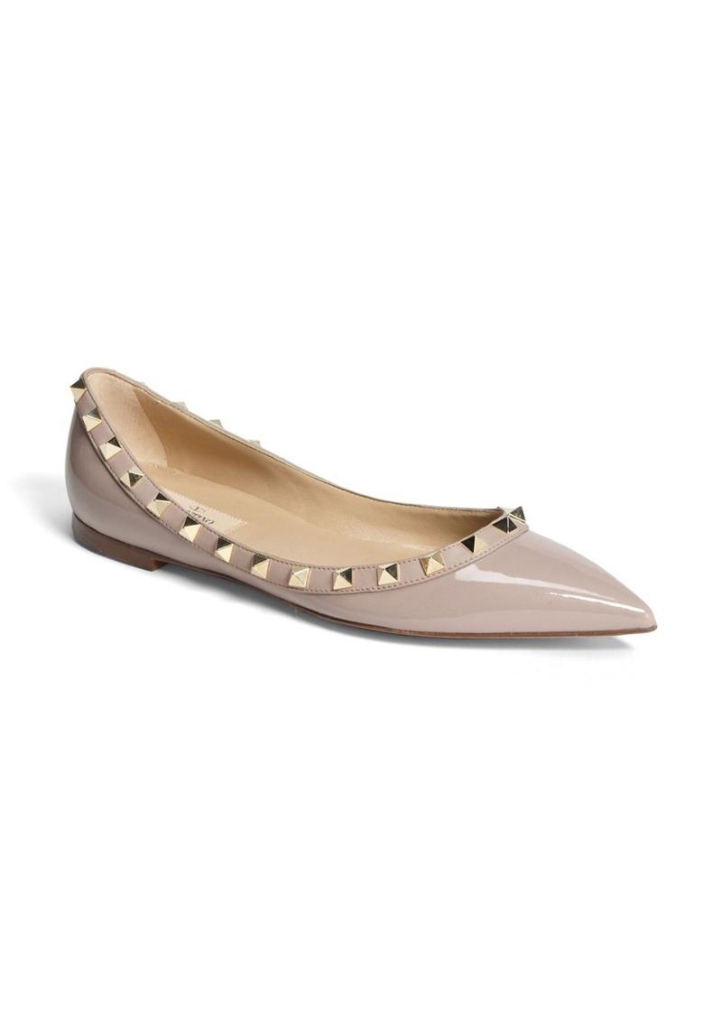 Valentino Garavani Rockstud Pointed Toe Ballerina Flat (Women)