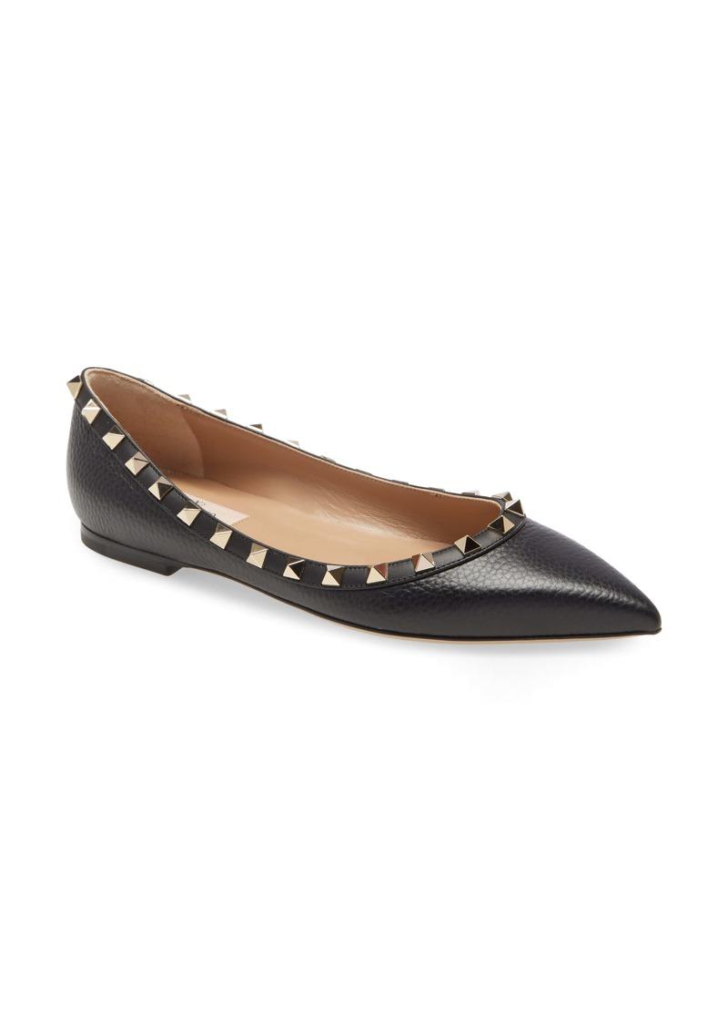 Valentino Garavani Rockstud Pointed Toe Flat (Women)