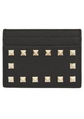 Valentino Garavani Rockstud Calfskin Leather Card Holder