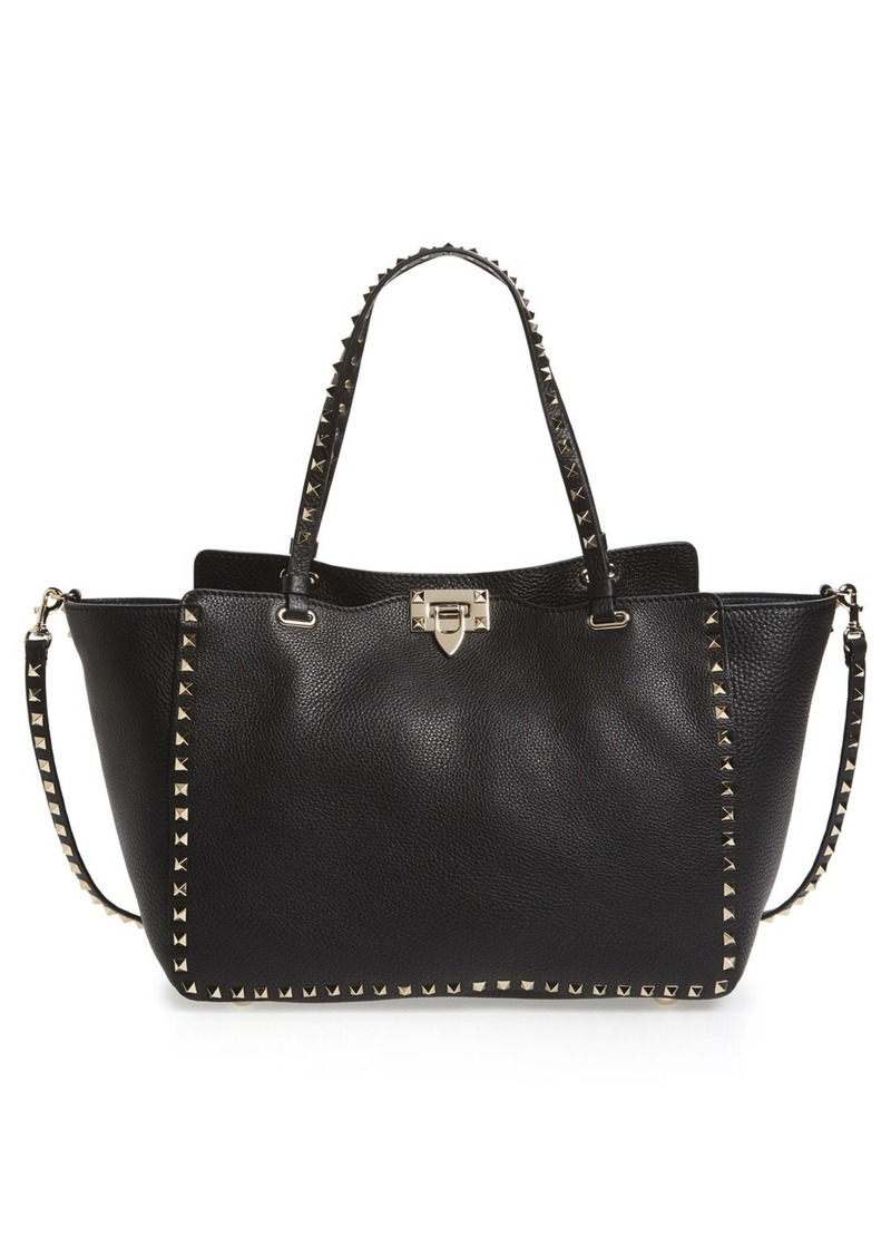 Valentino Garavani Rockstud Grained Calfskin Leather Tote