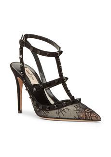Valentino Garavani Rockstud Lace T-Strap Pointed Toe Pump (Women)