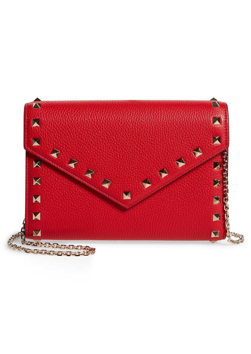 Valentino Garavani Rockstud Leather Envelope Wallet on a Chain