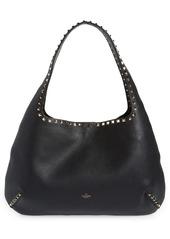 Valentino Garavani Rockstud Leather Hobo Bag