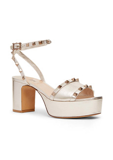 Valentino Garavani Rockstud Metallic Ankle Strap Platform Sandal (Women)