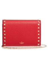 Valentino Garavani Rockstud V-Flap Calfskin Leather Wallet on a Chain