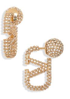Valentino Garavani VLOGO Crystal Front/Back Earrings