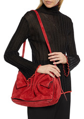 Valentino Garavani Woman Bloomy Gathered Suede Shoulder Bag Crimson
