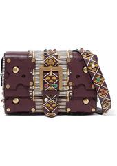 Valentino Garavani Woman Embellished Textured-leather Shoulder Bag Merlot