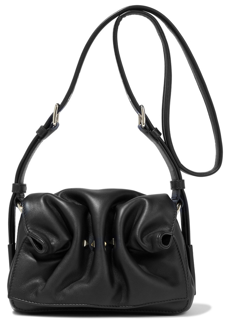 Valentino Garavani Woman Rockstud Gathered Leather Shoulder Bag Black
