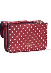 Valentino Garavani Woman Rockstud Ruffle-trimmed Polka-dot Leather Shoulder Bag Red