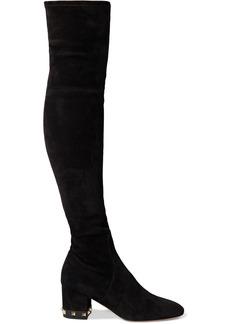 Valentino Garavani Woman Rockstud Stretch-suede Over-the-knee Boots Black