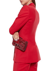 Valentino Garavani Woman Bow-embellished Crinkled-leather Shoulder Bag Red