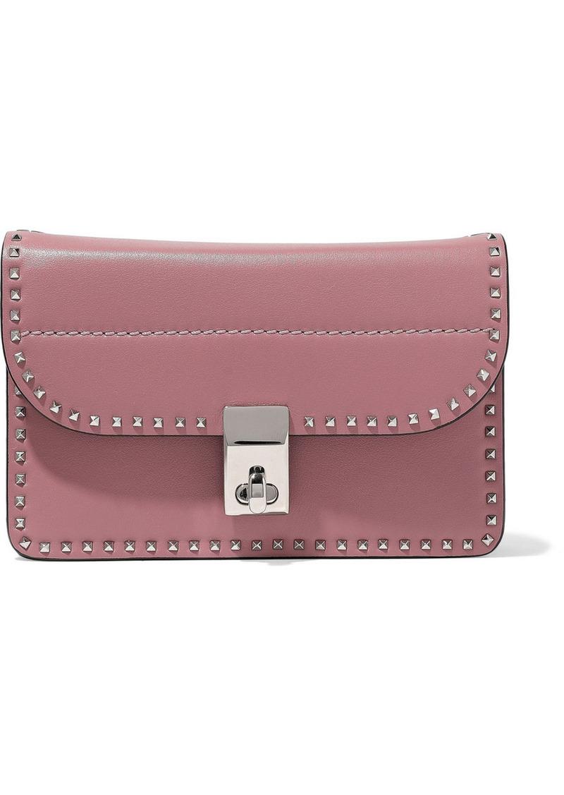 Valentino Garavani Woman Stud Stitching Leather Shoulder Bag Antique Rose