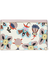 Valentino Garavani Woman Studded Printed Enamel And Leather Clutch Antique Rose