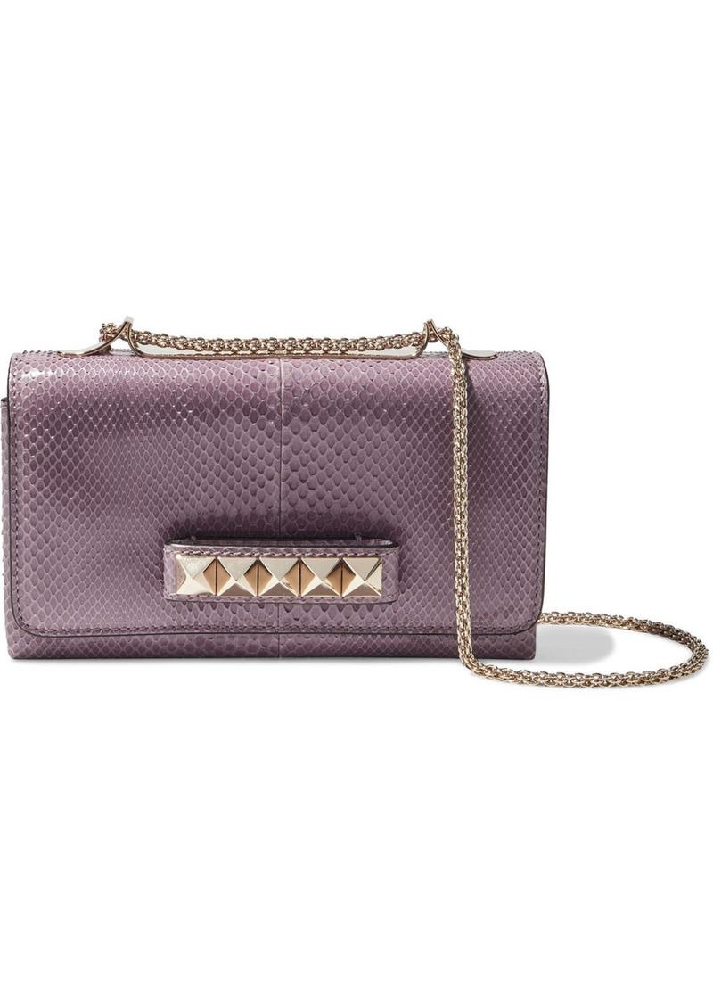 Valentino Garavani Woman Va Va Voom Snake-effect Leather Shoulder Bag Lavender