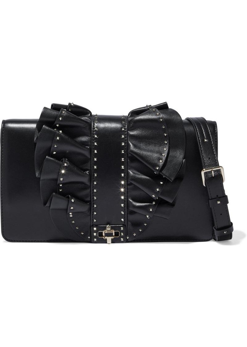 Valentino Garavani Woman Very V Studded Ruffled Leather Shoulder Bag Black